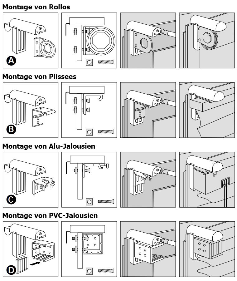 6 st ck klemmfix klemmhalter f r rollo plissee jalousie. Black Bedroom Furniture Sets. Home Design Ideas